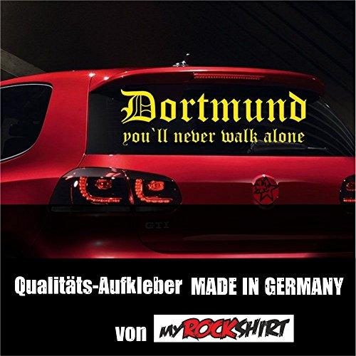 """myrockshirt Super-Chicer Dortmund Fussball-Fan You`ll Never Walk Alone Aufkleber Sticker XXL in 80x20 cm mit Montage Set inkl. Estrellina-Montage-Rakel® & \""""Estrellina-Glücksaufkleber®\"""" Fussball"""
