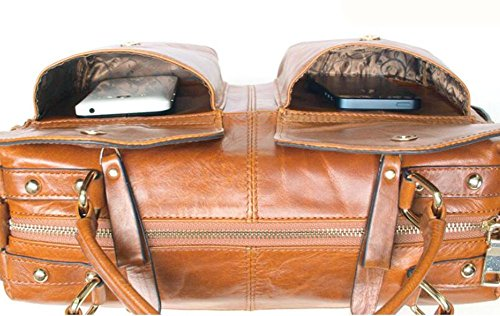 CHAOYANG-borsa in pelle borsa morbida portatile doppia tasca tracolla in pelle Ms. Four Seasons , brown soil yellow