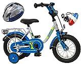 Bachtenkirch Kinderfahrrad Blau/Silber 12 Zoll POLIZEI mit Fahrradhelm & Sirene (410-PZ-40)
