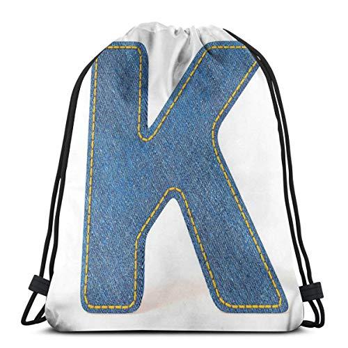 Jiger Drawstring Tote Bag Gym Bags Storage Backpack, Alphabet Font Denim Style Blue Jean Texture Capitalized Character K Illustration,Very Strong Premium Quality Gym Bag for Adults & Children - Blue Denim Tennis Shoe