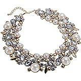 Weinlese Goldkette Weiss Perlen Kette halskette transparent Kristall Charme Halsreif Erklaerung Kollier Halskette Statement