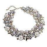 Jerollin Damen Perlenkette Halsketten Kette Collier Choker Bib Bead Kristall Glas Charme Elegante Halsreif Halsketten Statement Ketten