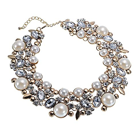 New Gold Tone Chain White Simulated Pearl Crystal Beads Cluster Charm Statement Bib Necklace