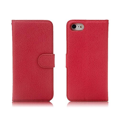 Cross Lines Pattern Abnehmbare 2 in 1 Style PU Ledertasche Brieftasche Beutel Case Cover mit Kickstand & Lanyard & Card Slots für iPhone 7 ( Color : Rose ) Red