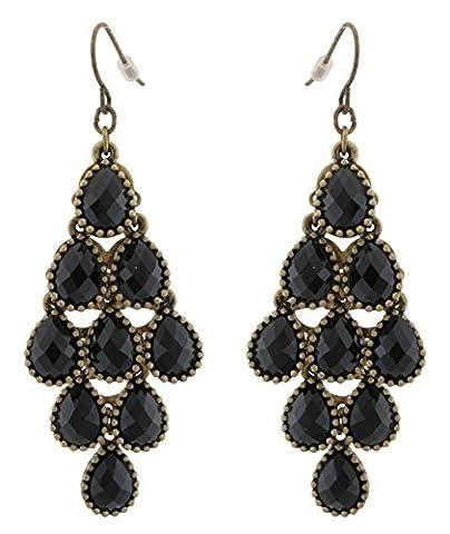 Zest Antique Golden Chandelier Style Pear Drop Earrings for Pierced Ears Black