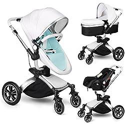 Amzdeal Kinderwagen 3 in 1 Kombikinderwagen, 2018 Kinderwagen mit Babyschale, Babywanne, Sportwagen und Zubehör, für 0-3 Jahre alt Baby (weiß/silber)