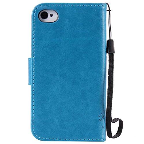 JIALUN-Telefon Fall Mit Kartensteckplatz, Lanyard, Druck Schöne Muster Mode Open Handy Shell Für IPhone 4 4S ( Color : Gray , Size : IPhone 4 4S ) Blue