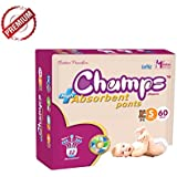 Champs High Absorbent Premium Pant Style Diaper | Premium Pant Diapers (Small, 60 Pieces)| Premium Diapers | Premium Baby Diapers | | Anti-rash And Anti-bacterial Diaper |