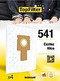 TopFilter 541, 4 sacs aspirateur pour Elcotec et Nilco boîte de sacs d'aspiration en non-tissé, 4 sacs à poussière (30 x 26 x 0,1 cm)