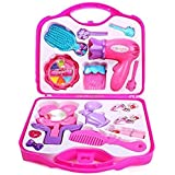 Oongly Fashion Girl Beauty Set Makeup Toy With Mirror Hairdryer & Styling Accessories, Pretend Play Kids (Pink)