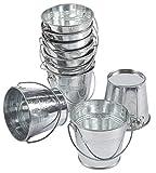 10 Stück kleiner Metalleimer – Eimer mit Mini-Metalleimer, ideal für Partys, Schmuck, kleine Pflanzen, Gartendekorationen, Silber, 13,3 x 9,7 cm