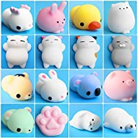 Outee Mochi Squishys Toys, 16 Pcs Mini Squishys Animals Toys Mochi Cat Squishys Stress Relief Mochi Animal with Felt Bag