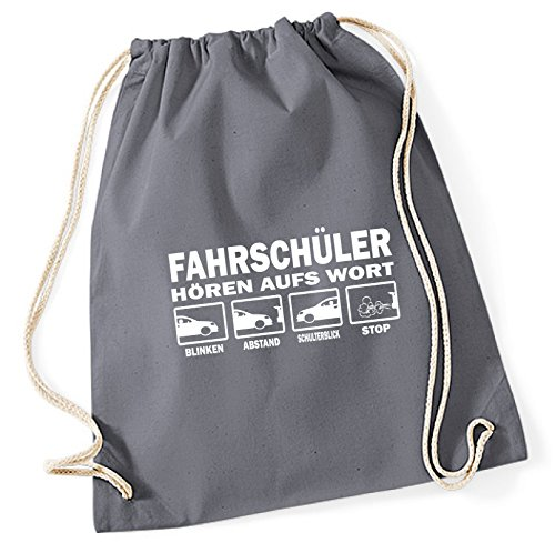 Siviwonder Turnbeutel - FAHRSCHÜLER hören aufs Wort Führerschein Auto Fahrschule - Baumwoll Tasche Beutel grau