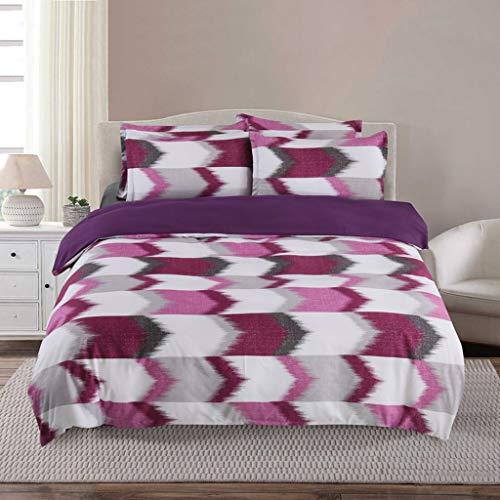 ToDIDAF Mode Bettwäsche-Sets Einfache Heimtextilien Geometric Lattice Plain Bettbezug + Kissenbezug Für Zuhause Schlafzimmer Hotel Schule Schlafsaal Bett Dekoration (Lila, King Size, 3 teilig) -