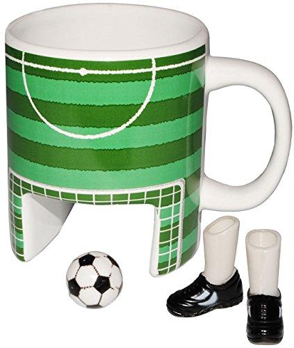 Unbekannt 3-D Effekt _ Kaffeebecher / Henkeltasse -  Fußballspielfeld + 2 Füße & Fußball  -...