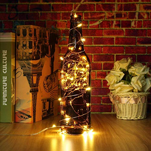SOLMORE Guirlande Lumineuse 5M 50 LEDs à Pile pour Extérieur Intérieur Helloween Noël Fête Mariage Anniversaire Soirée Guirlande Déco de Maison/Jardin/Voiture/Vélo avec Boîte de Pile (blanc chaud)