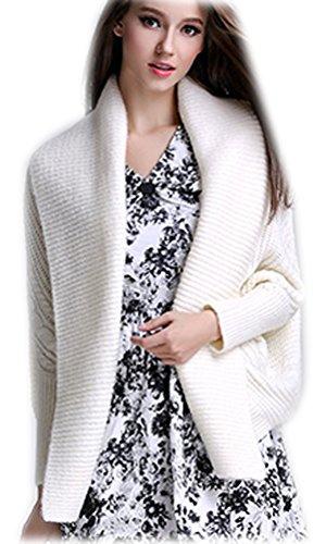 Cardigan Donna Colori Solidi Manica Lunga Cavo Maglione Lavorato Cardigan Slim pipistrello Sweatshirt Maglione Moda V Collare Pullover Top Maglioni Cremoso
