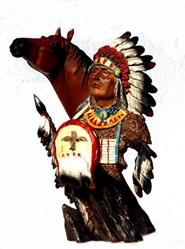 Indianer Pferd Büste Deko Western Figur Artikel Wildwest Cowboy Skulptur Statue Indianer Büste