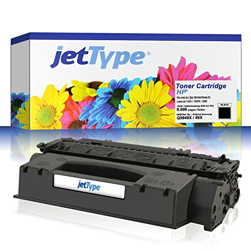 jetType Toner ersetzt HP Q5949X / 49X für LaserJet 1320 / 1320N / 3390 / 1320TN / 3392 / 1320NW, schwarz, 6.000 Seiten
