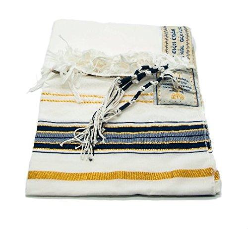 New Extra Groß messianischen Tallit Gebet Schals Talit Dark Navy und Gold mit Talit Tasche - Wollschal Mit Taschen