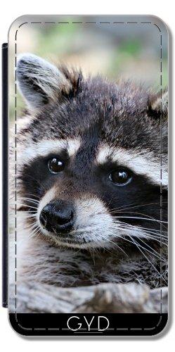 Leder Flip Case Tasche Hülle für Apple iPhone 5/5S - Wildes Tier Racoon Säugetier by Grab My Art Lederoptik