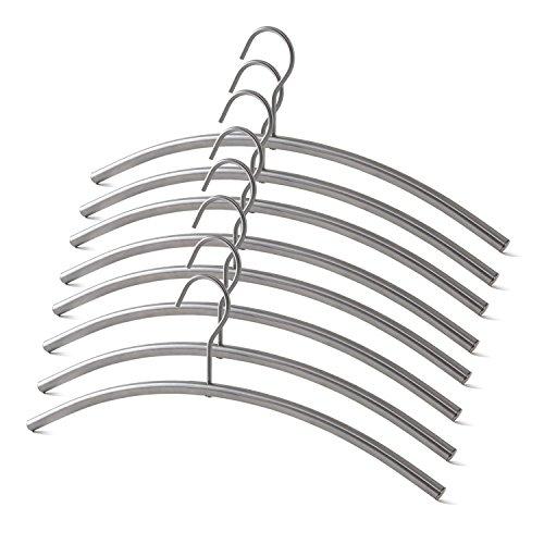Alta calidad Perchas de acero inoxidable mate cepillado con el eslabón giratorio Gancho servicio pesado - set de 8