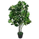 Leaf Design UK 95cm Ombrello Tree Dark Green-Extra Grande Evergreen ficus Artificiale pianta Vaso in plastica Nera, Arboricola