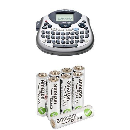 Dymo S0758370 Letra Tag LT-100T Elektronisches Beschriftungsgerät & AmazonBasics Performance Batterien Alkali, AA, 8 Stück (Design kann von Darstellung abweichen)