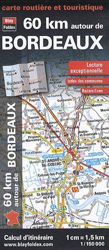 60 km autour de Bordeaux, carte routière et touristique