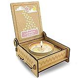 CANDLE in the BOX für Sternenkinder | Trauerkerze in Holzbox mit Spruch | Personalisiert mit Namen | Mond Rosa | Gedenkkerze | Andenken
