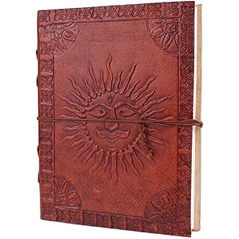 Diario di cuoio con impresso tradizionale Surya (Sole) Motif Sulla copertura del taccuino personale di scrittura ufficiale - Planner Pad Organizzatore