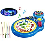 Toy Arena Big Fishing Pool Game Rotating 2 Fish Pot with Light and Music Scene Great Fun for Lill Champs