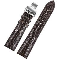 19 mm di colore marrone scuro / caffè sostituzione di lusso fatti a mano vigilanza di cuoio cinghie / band vera pelle di coccodrillo di lusso orologi svizzeri