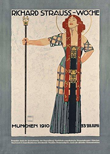 Vintage Opéra et musique classique Richard Strauss Festival dans Munich, Allemagne C1910Motif par Ludwig Hohlwein 250g/m² Brillant Art carte Poster Reproduction