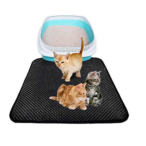 Bogji Katzenstreu Matte Double Layer Wasserdicht Große Löcher Trapper Kitty Katzenstreu Matte Honeycomb Design Eva 50x 40Faltbar Pad