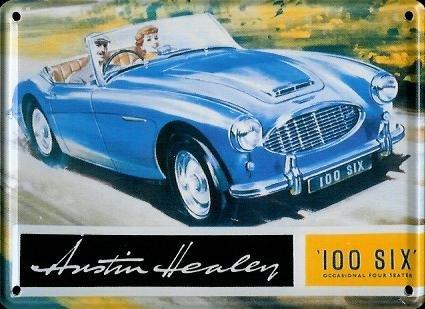 AUSTIN Healy 100Six Mini plaque plaque de tôle Carte postale–8x 11cm Nostalgie Rétro Plaque metal tin Sign