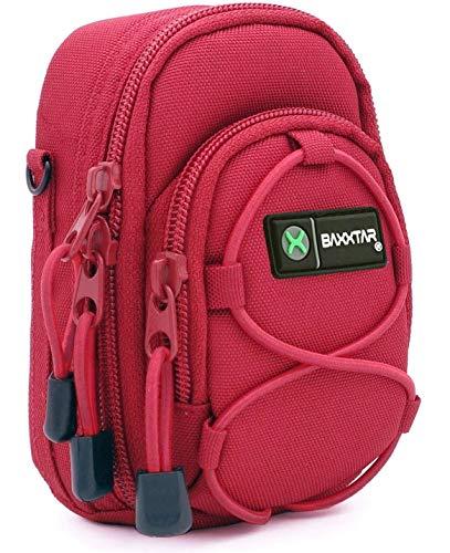 Baxxtar Redstar V4 - Funda para cámara (con Correa para Hombro y Pasador para cinturón) - Color Rojo - para Coolpix A900 A1000 S9900 - Lumix DC TZ200 TZ90 DMC TZ80 TZ100 LX15 - PowerShot SX730 SX740