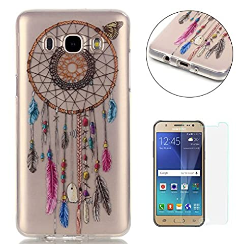 Samsung Galaxy J5 2016/J510FN Silicone Gel Case [with Free Screen Protector],CaseHome Crystal Clear Shock Proof Soft Durable Scratch Resistant Jelly Rubber TPU Protective Case Cover Skin Shell for Samsung Galaxy J5 2016/J510FN with Beautiful Colourful Pattern Design-Dreamcatcher Feathers