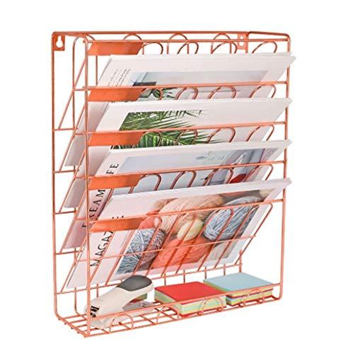 Mesh 5 Tier Wall Files Organizer, Dokumentenablage für die Wandmontage, Aktenregal Office File Storage Rack, Schwarz,Pink - 5 Tier-mesh