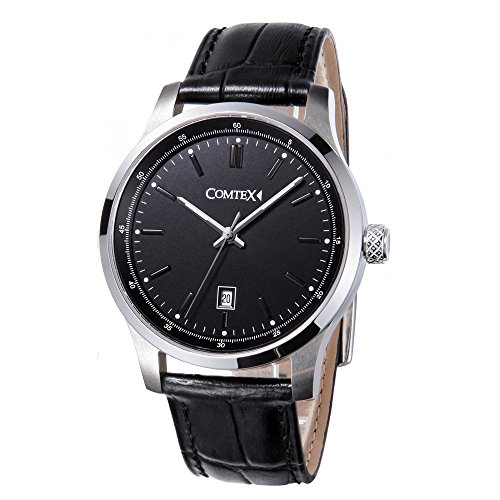 Comtex Herren Uhren Schwarz Analog Quarz mit Lederband Wasserdicht Kalender Klassische Elegant Armbanduhr