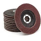 wishfive 10pcs 5pulgadas 125mm 40Grit Flap Disc lija de óxido de aluminio discos abrasivos