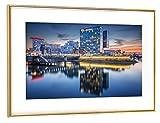 artboxONE Poster mit Rahmen Gold 60x40 cm Medienhafen Düsseldorf von Jan Hartmann - gerahmtes Poster