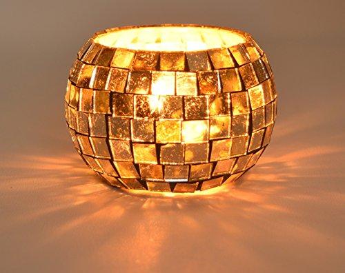 Mosaic Designer Copper Glass Votive Candle Holder