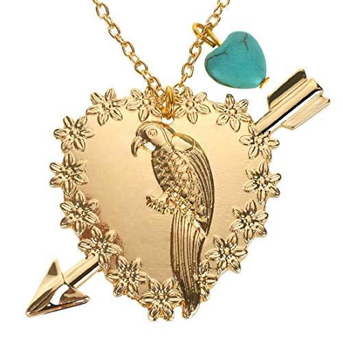 Kim Johanson Damen Halskette *Papagei* in Gold mit Einem türkisen Naturstein Herz inkl. Schmuckbeutel (Kostüme Halloween 2019 Stars)