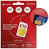 Vodafone 3G/4G UK & EUROPE Trio SIM PAYG 10 Bundle (includes 2GB Data, 250 mins + Unltd Text) & International Calling Card - (Love2surf RETAIL PACK)