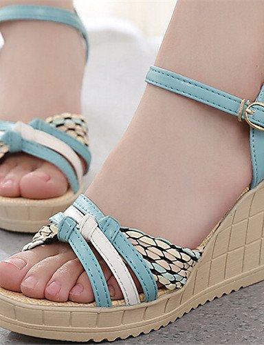 UWSZZ IL Sandali eleganti comfort DONNE - Sandali - Aperta - Zeppa Finta pelle - Blu/Verde/Beige beige
