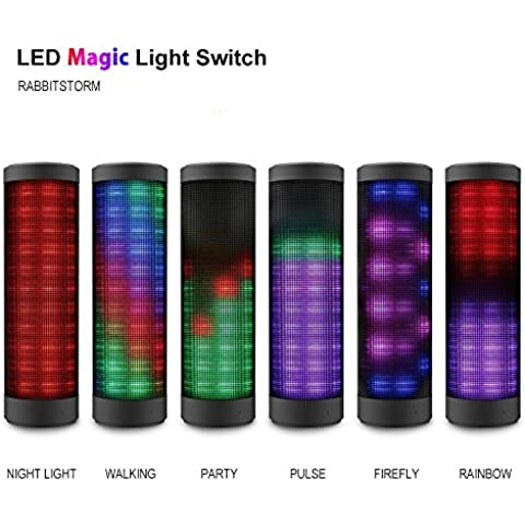 Rabbitstorm®altavoz portátil Bluetooth altavoz al aire libre Hi-Fi inalámbrica Bluetooth con función de soporte colorido luz incorporada LED micrófono de manos libres