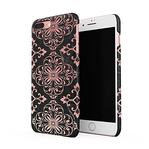 Rose Gold Moroccan Ornaments On Black Marble Dünne Rückschale aus Hartplastik für iPhone 7 Plus & iPhone 8 Plus Handy Hülle Schutzhülle Slim Fit Case Cover