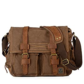 Tekon British Style Retro Mens Canvas Leather Messenger Traval Shoulder Travel Hiking Camping Bag