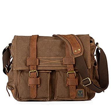 Tekon Unisex Mens Womens Vintage Retro Canvas Cross Body Canvas Leather Messenger Traval Shoulder Bag Hiking Canvas Bag